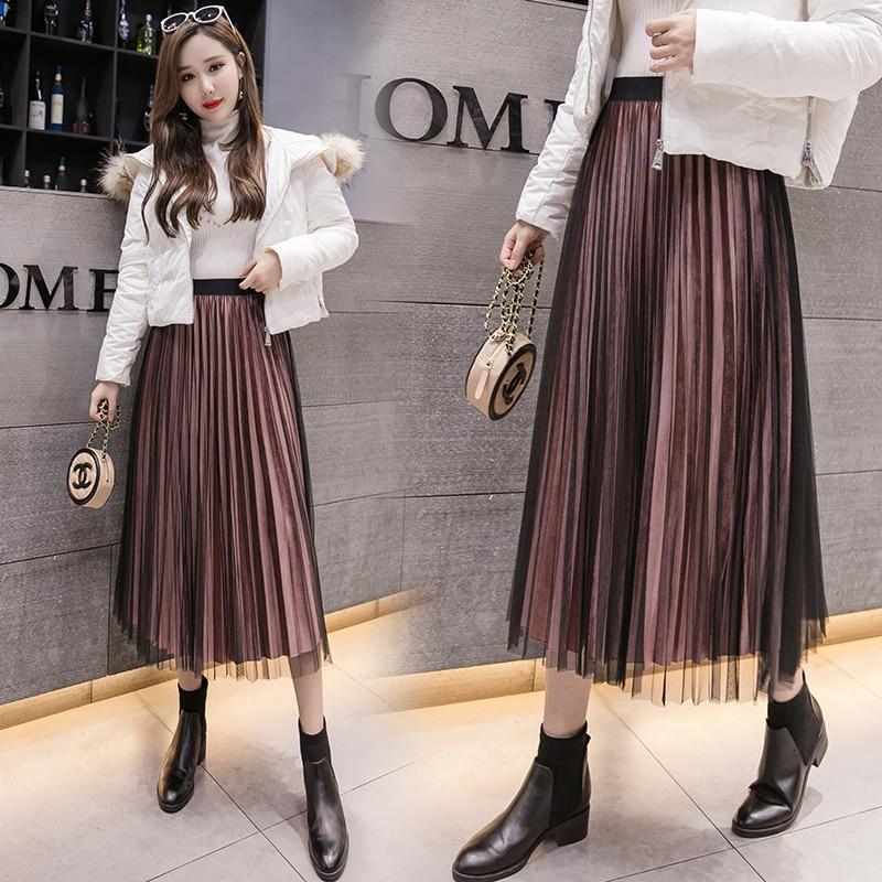 vintage Pleated skirt female new 2019 spring pleuche net skirts women s  fashion long velvet splice Mesh b29a2af15051