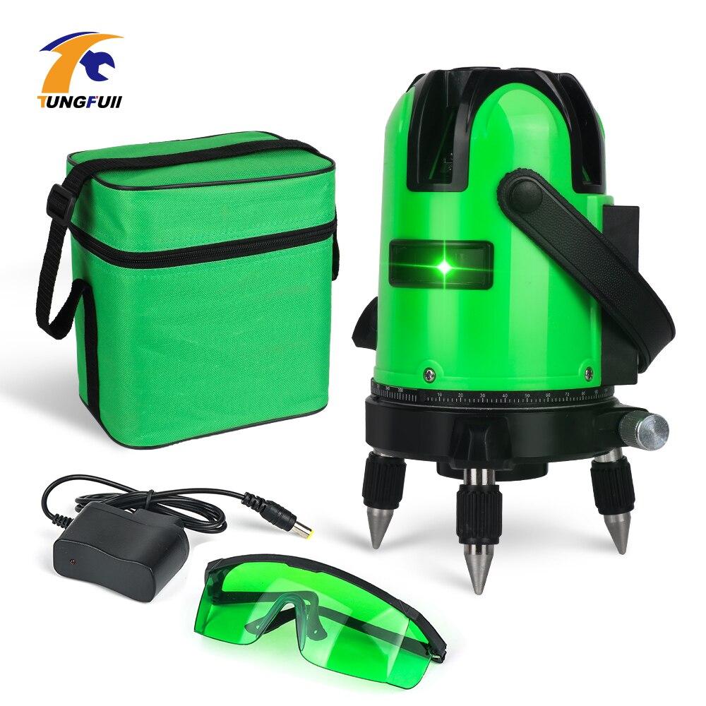 TUNGFULL Vert Laser niveau 5 ligne 360 Auto Nivellement Laser Niveau Précision Machine Faisceau Vert En Plein Air Mode instruments de mesure