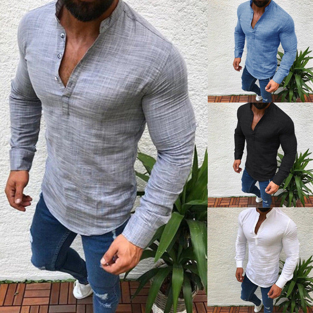 c63e68c10d03 2019 Men Spring Summer Simple Casual Solid Color Stand Collar T-shirt Slim  Fit Long Sleeve Linen Tops Clothes Plus Size M-3XL