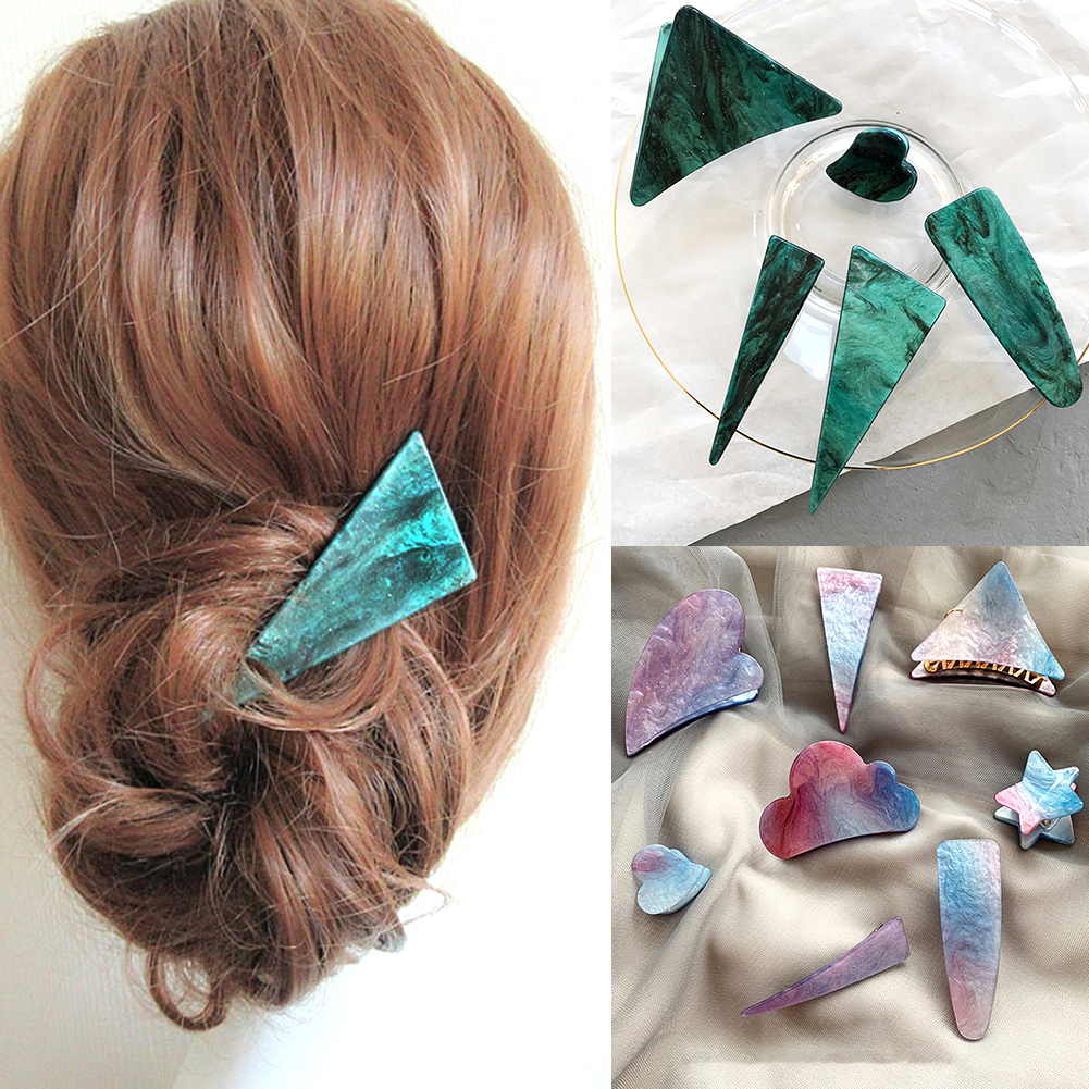 Woman Personality Temperament Hair Clip Hair Accessories Vintage Emerald Series Geometrical Triangle Hairpins And Grasp Clip