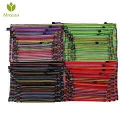 Mrosaa A4 A5 B4 B5 B6 красочные Водонепроницаемый прозрачной нейлоновой сетки zippe мешок файл канцелярская папка хранения школьных принадлежностей