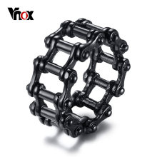Vnox Stylish Punk Motorcycle Biker Chain Ring for Men Black Stainless Steel Bicycle Link Band Male Alliance Rock Jewlery(China)