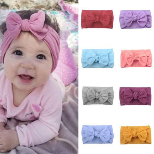 Cute Kid Girl Baby Toddler Bow Headband Hairbands Accessories   Headwear   Head Wrap Bowknot Solid Stretch Headband