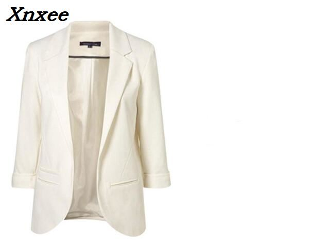 2018 Black Yellow Blue Formal Female blazer Jackets short blasers mujer Women 39 s slim long sleeve woman suit coat Jacket Xnxee in Blazers from Women 39 s Clothing