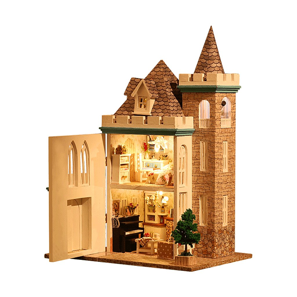 1:24 Scale DIY Miniature Dollhouse Kit Handmade <font><b>Doll</b></font> House Model with LED Light Educational Toys for Children Toddler Kids image