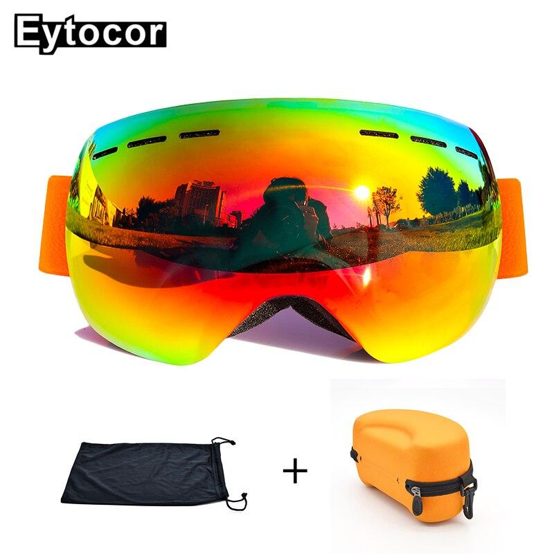 EYTOCOR Top Vente UV400 cagoule Lunettes avec Magnétique Rapide-changement 2 dans 1 Lentille Anti-brouillard Ski Motoneige lunettes masque anti neige - 6