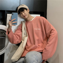 2019 Spring Mens Color Edge Grinding Coats Long Letter Embroidery Pullover Male Hoodies Cotton Casual Sweatshirts
