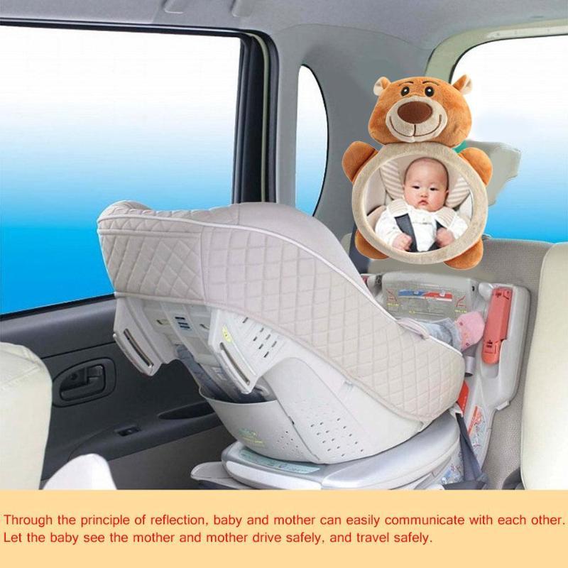 Cartoon Plush Bear Adjustable Baby Car Back Seat Mirror Kids Safety View Monitor