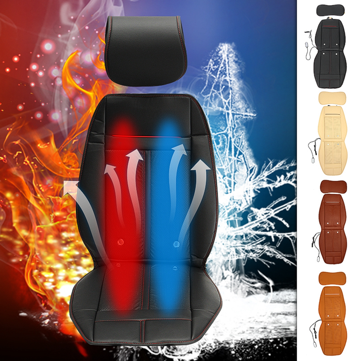 Auto Winter / Summer Seat Cover 12V Universal 3 In 1 Leather Car Cooling Warm Heated Massage Chair Seat Cushion