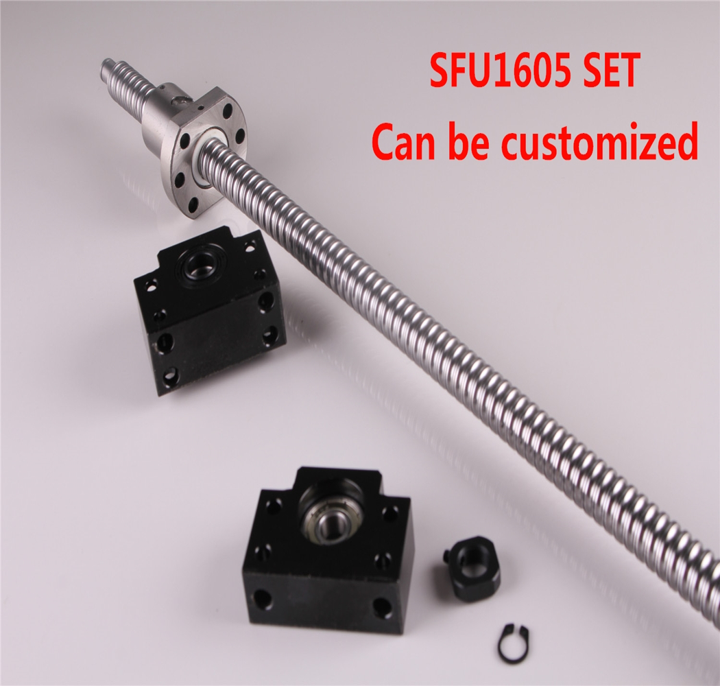 Ball Screw SFU1605-250 300 350 400 450 500 550 600 650 700 750 900 1000 End machine with BK12/BF12 End Support Bearing Mounts ball screw sfu1605 550 end machine with bk12 bf12 end support bearing mounts 1set