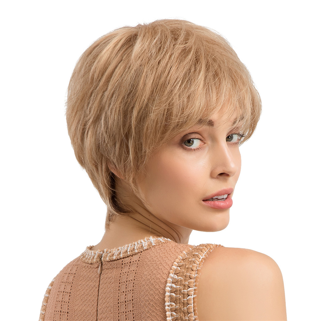 Women Natural Short Straight Wig Human Hair Refreshing Fluffy Pixie Cut Wigs Brown stylish short capless side bang synthetic fluffy brown highlight curly bump wig for women