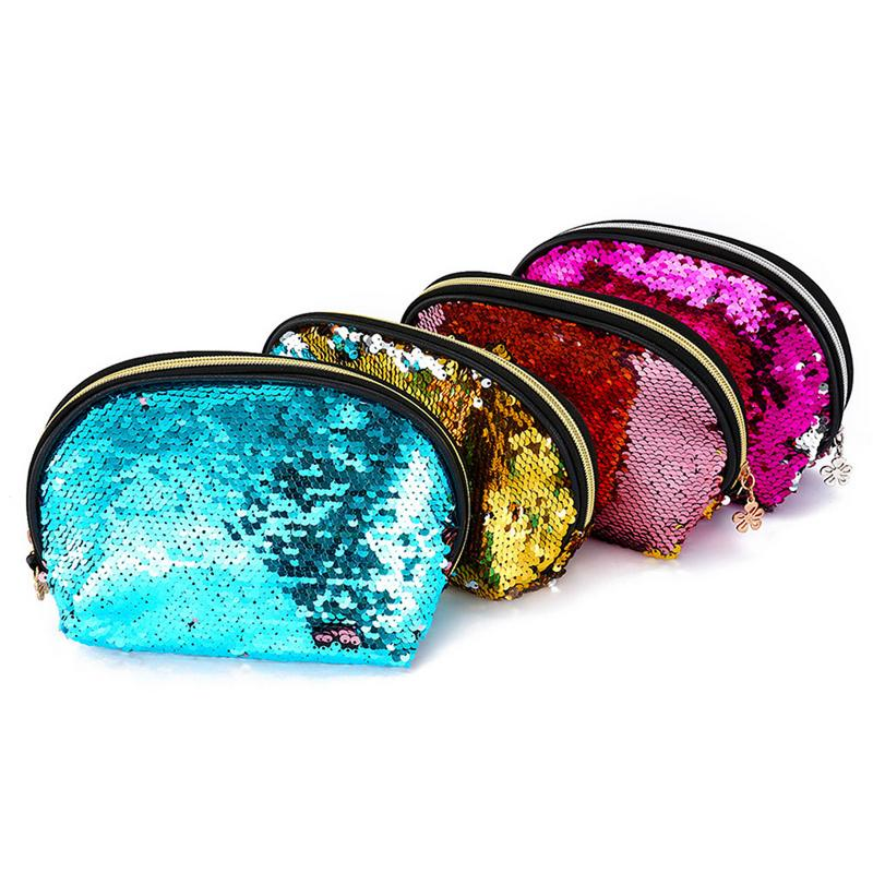 2019 New Sequins Handbags Shell Cosmetic Bags & Cases Makeup Storage Bag Mermaid Sequin Evening Bag