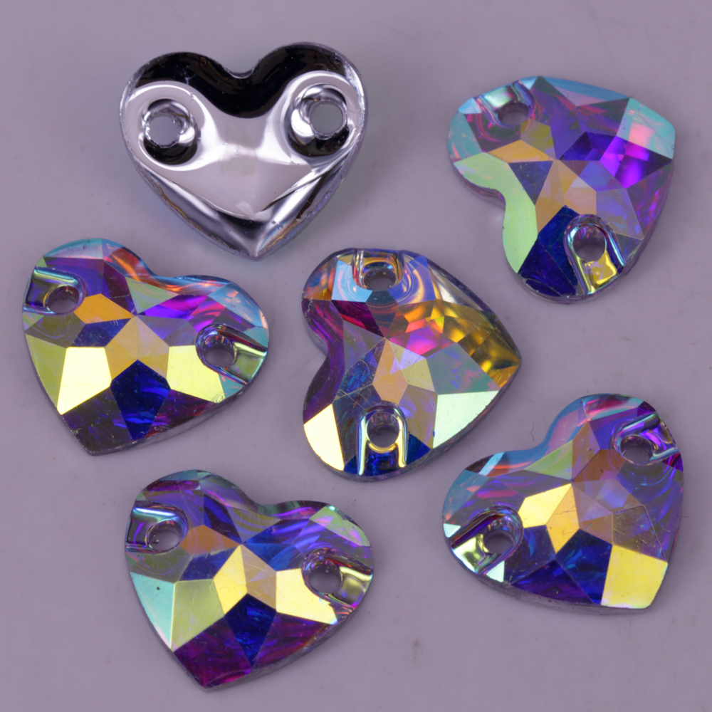 100 Stks/partij, 12mm 16mm Crystal Ab Clear Ab Flat Terug Hart Hars Naaien Op Stenen Platte Achterkant Steentjes Naaien Op Met Twee Hole Ab