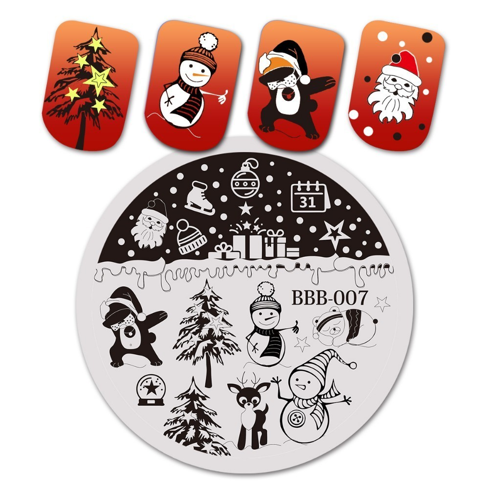 BeautyBigBang 5.6*5.6 Cm Round Christmas Series 2 Nail Stamping Template Plates Image Polish Transfer DIY Tools For Nail Art-in Nail Art Templates from Beauty & Health