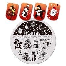 BeautyBigBang 5.6*5.6 Cm okrągła seria bożonarodzeniowa 2 szablon tłoczenia paznokci obraz polski Transfer narzędzia DIY do zdobienia paznokci