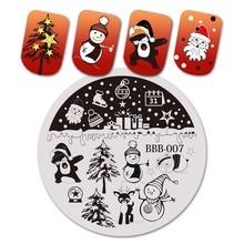 BeautyBigBang 5.6*5.6 Cm ronde noël série 2 ongles estampage modèle plaques Image vernis transfert outils de bricolage pour Nail Art