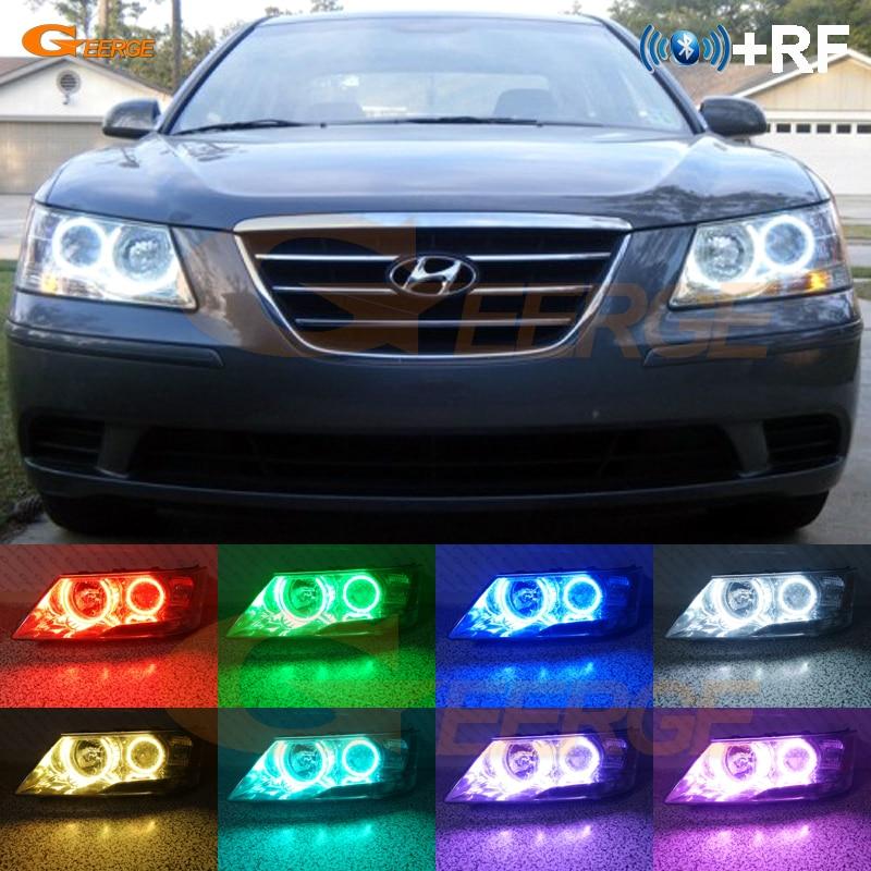 Pour Hyundai Sonata NF Transformer 2008 2009 2010 RF Bluetooth Contrôleur Multi-Couleur Ultra lumineux RGB LED Ange Yeux halo Anneau kit
