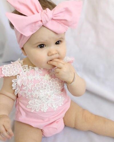 Bebê recém-nascido Roupas Das Meninas Rendas Floral Macacão Outfits Sunsuit Rosa + Sets Headband Do