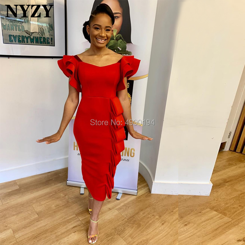 NYZY C93 Robe Cocktail Dresses Red Satin Vintage Cap Sleeves Formal Dress For Wedding Party Evening Vestido Coctel 2019