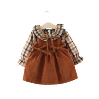 Spring Autumn O neck Cotton Baby Dresses Children 2 Year Girl Baby Dress Girls Newborn Plaid Strap Two Sets +Dress For New Year