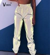 Las mujeres Casual Harem pantalones de chándal gris Hip Hop pantalones reflectantes de moda de mujer suelta noche brillar más tamaño pantalones Pantalon Mujer
