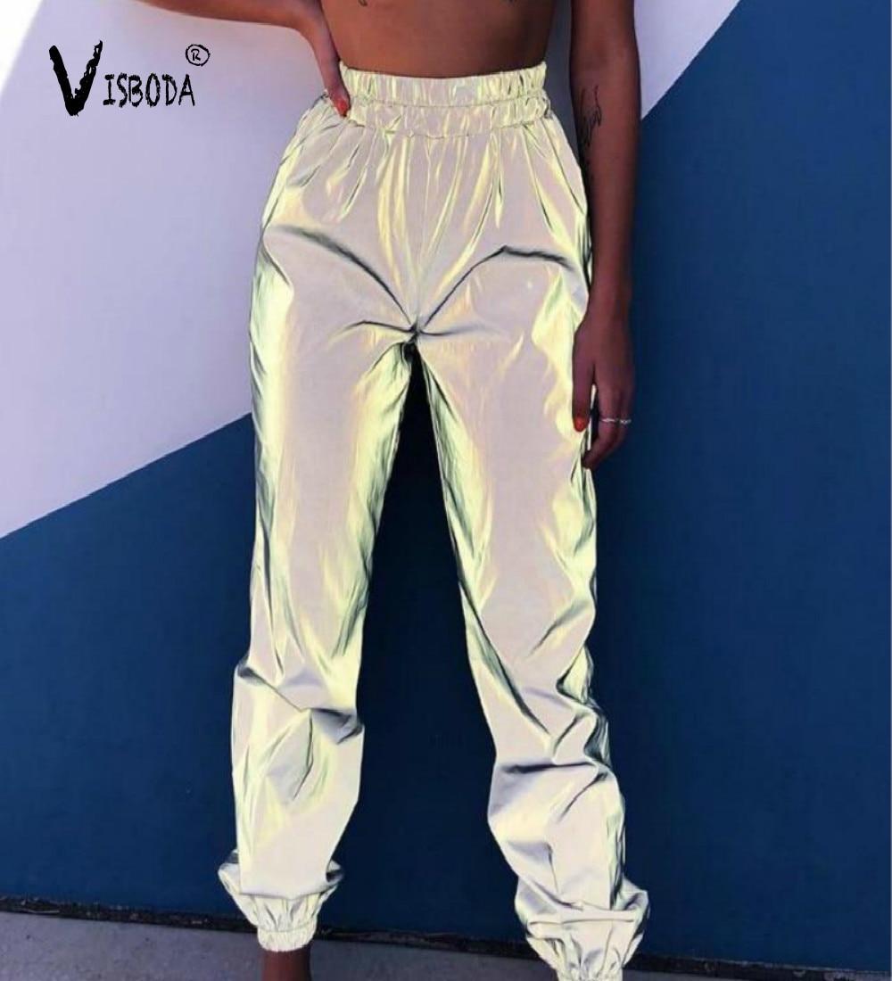 Pantalones de chándal Harem informales para mujer, pantalones reflectantes de Hip Hop con brillo, moda 2020, pantalones sueltos de baile para mujer, pantalones de talla grande para mujer