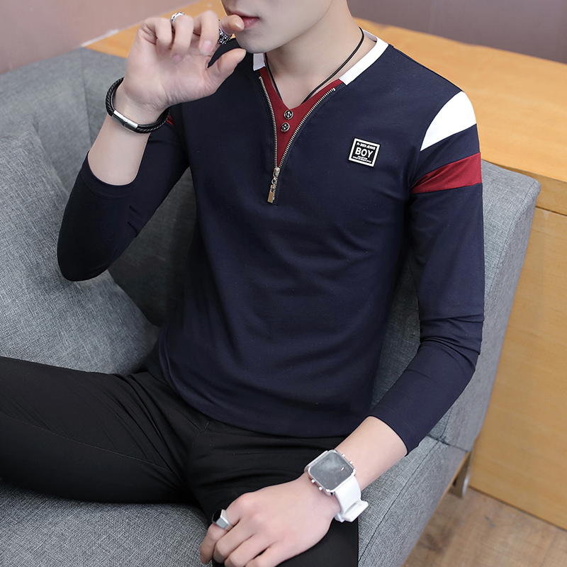 2019 Spring T-Shirt Men Long Sleeve Casual Zipper T Shirts Self-cultivation Design Simple T Shirt Brand New Round Neck Homme 3