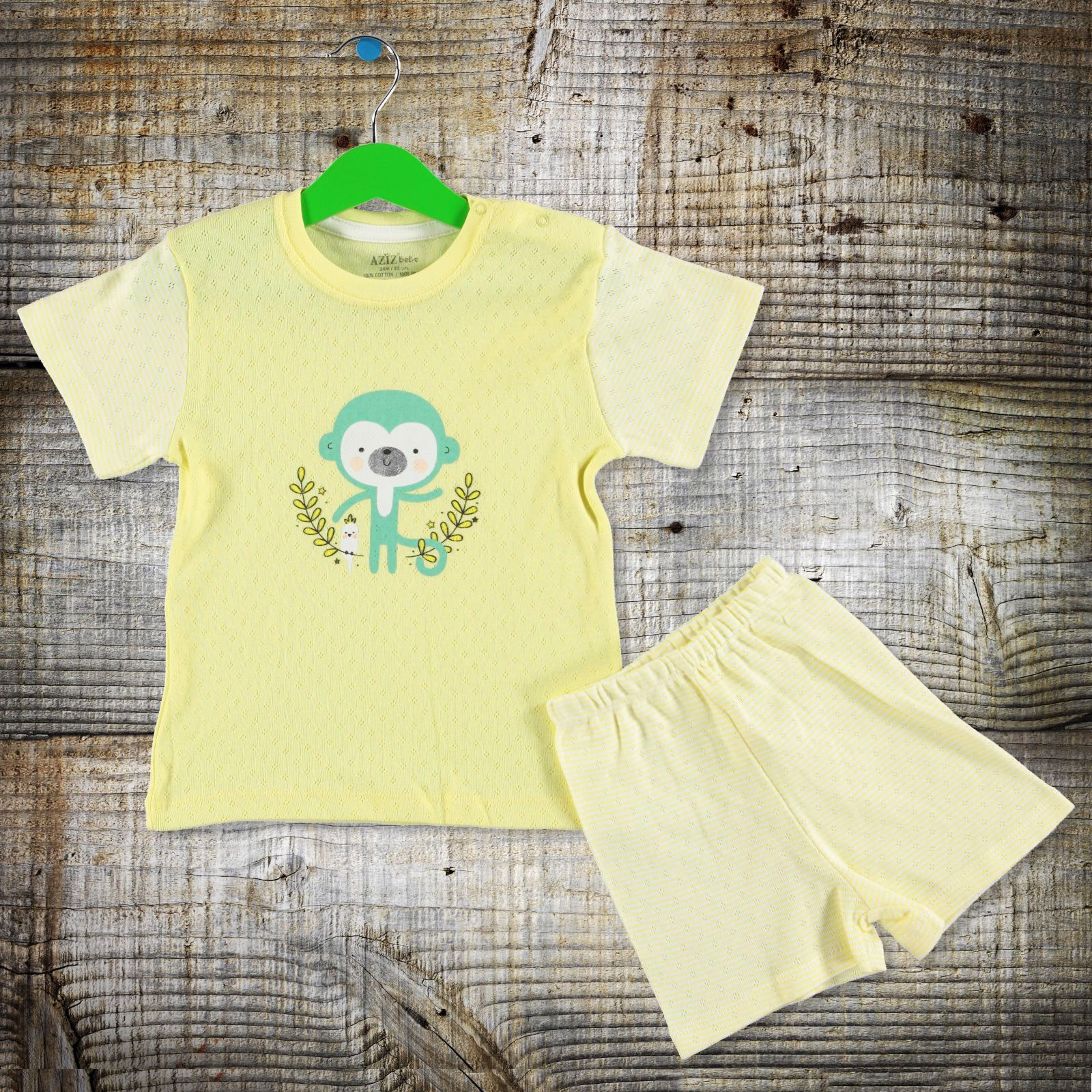 Aziz Bebe Born Baby Tshirt Short 2 Pack Set