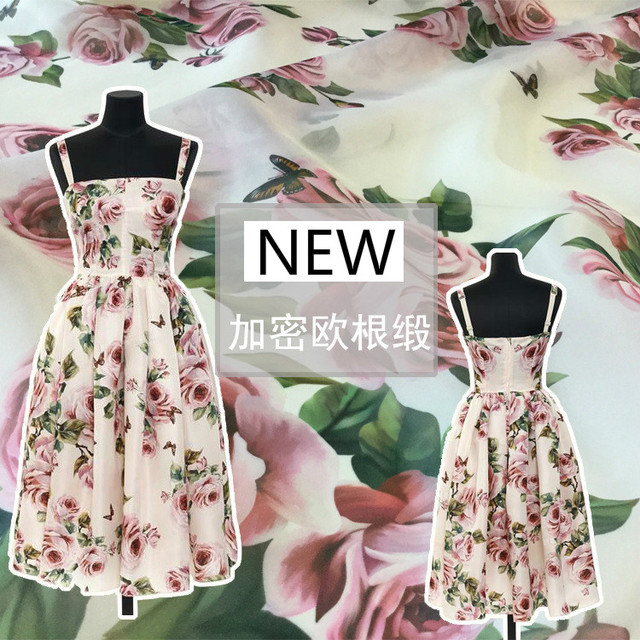 2018 new high-end digital printing spring and summer roses pattern fashion fabric dress shirt  mother and child dress custom