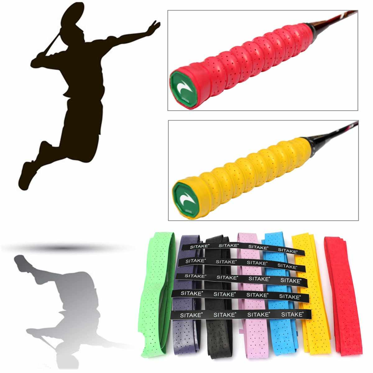 Handle Cover Bandage Strap Fishing Rod Tennis Racket Grips Anti Slip Sweat Absorbed Wraps Tape Badminton Squash Racket Grab