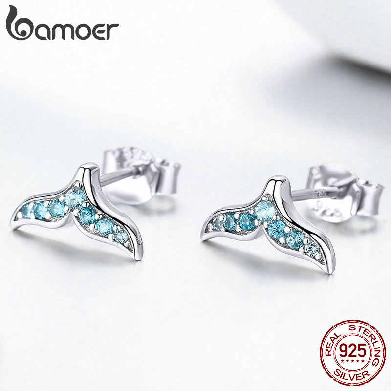 Bamoer venda quente 100% 925 prata esterlina azul zircão sereia fishtail pequeno parafuso prisioneiro brincos para mulher jóias de prata bse058