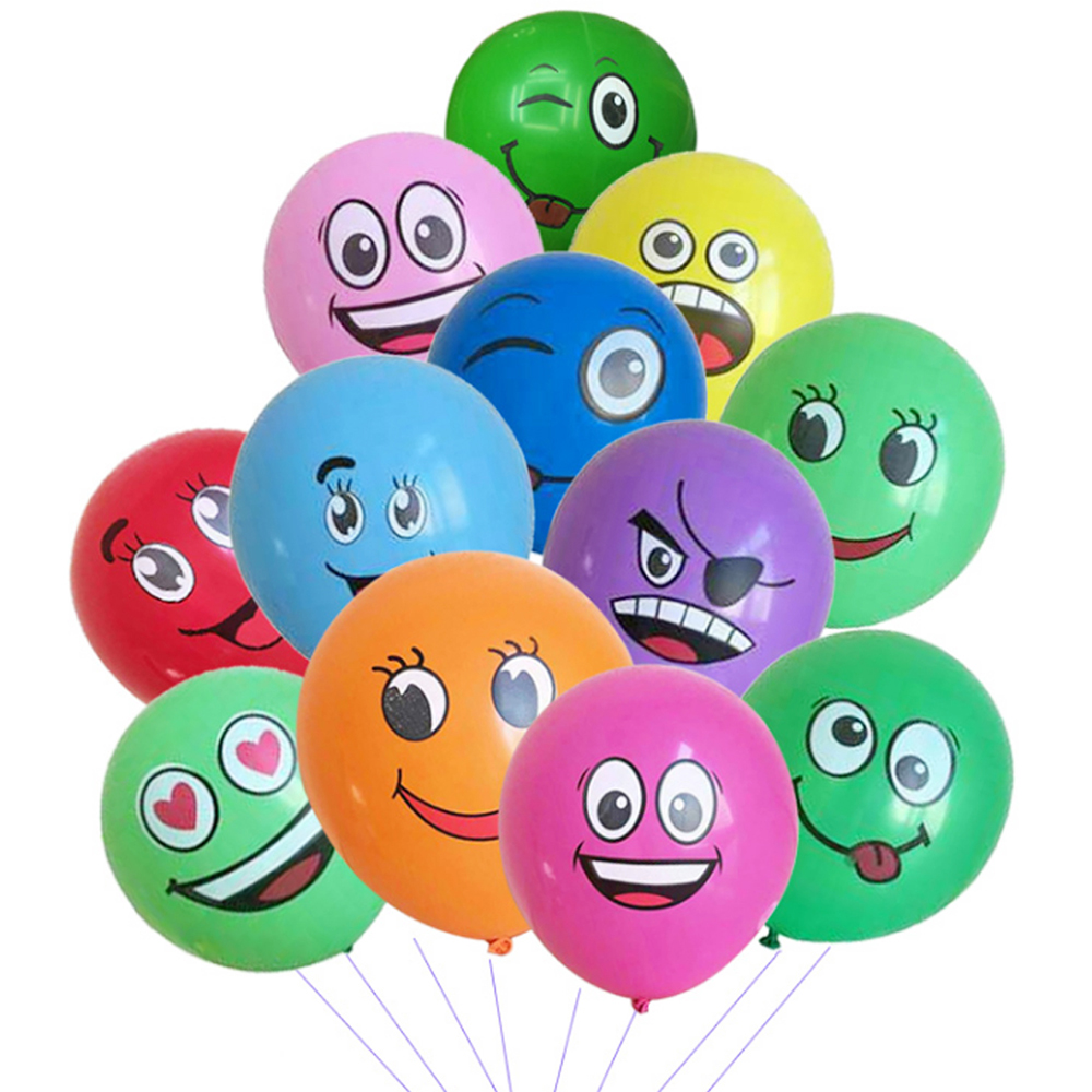 Adroit Cute Printed Big Eyes Emoji Smiley Face Latex Balloons For Party Birthday Or Holiday Decoration Style 2 Pack Of 20 Multi-color