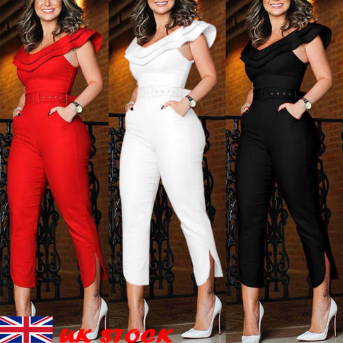 UK Womens Bardot Off Shoulder   Jumpsuit   Rompers Cocktail Party Evening Playsuit