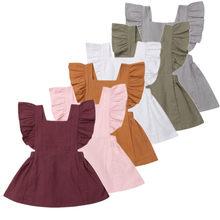Newborn Baby Girls Dresses Solid Fly Sleeveless Princess Ruf