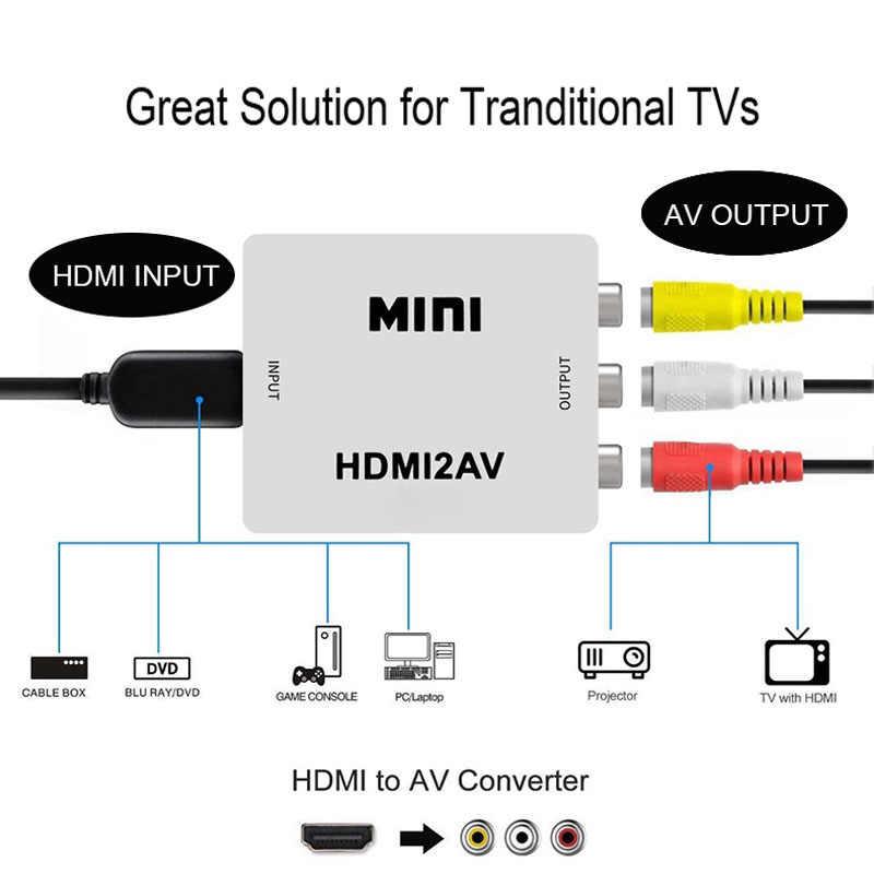 9 1080 1080p ミニ Hdmi と RCA の AV コンコンバータ 3.5 ミリメートルオーディオポート VGA2AV/ CVBS + オーディオ PC Hdtv コンバータ