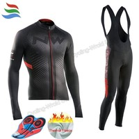2018 New NW Cycling Jersey Long Thermal Fleece NORTHWAVE Pro Team 9D GEL Pad Cycling Clothes Ciclismo Ropa Ciclista C2020