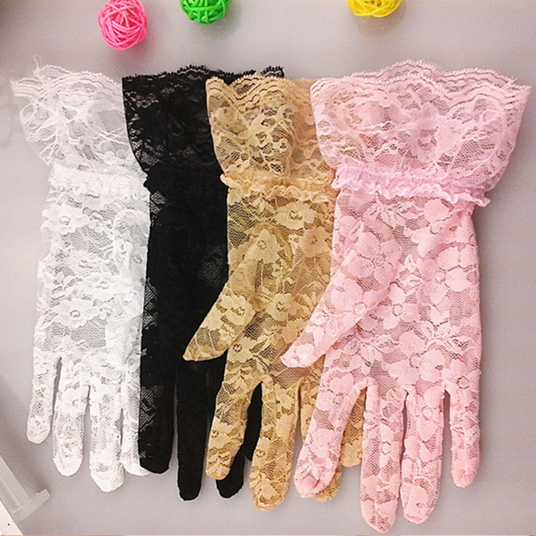 Vintage Elastic Sun Protection Solid Sunscreen Summer Gorgeous Pink Finger Gloves Sexy Lace Black Large Sunscreen Gloves