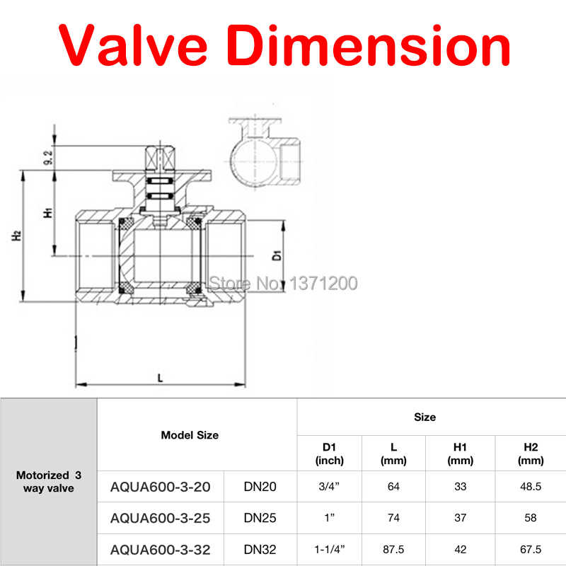 Electric valve brass motorized ball valve three way valve Can be manually and automatically AC 220v 24v DN20 DN25 DN32 L type Inlet Specification : 220v Actuator