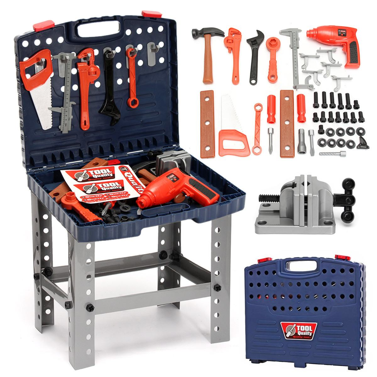 69Pcs Children's Tool Box Foldable Work Bench With Repair Tools Set Mutifunctional Kids Baby Role Play Toy Plastic Hand Tools