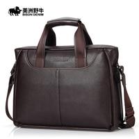 2019 BISON DENIM Brand Handbag Men Genuine Leather Shoulder Bags Business Travel Messenger Bag Tote Bag Cowhide Men's Briefcase