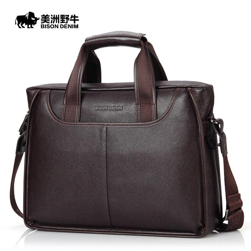 Мужской кожаный портфель BISON DENIM 14 дюймов
