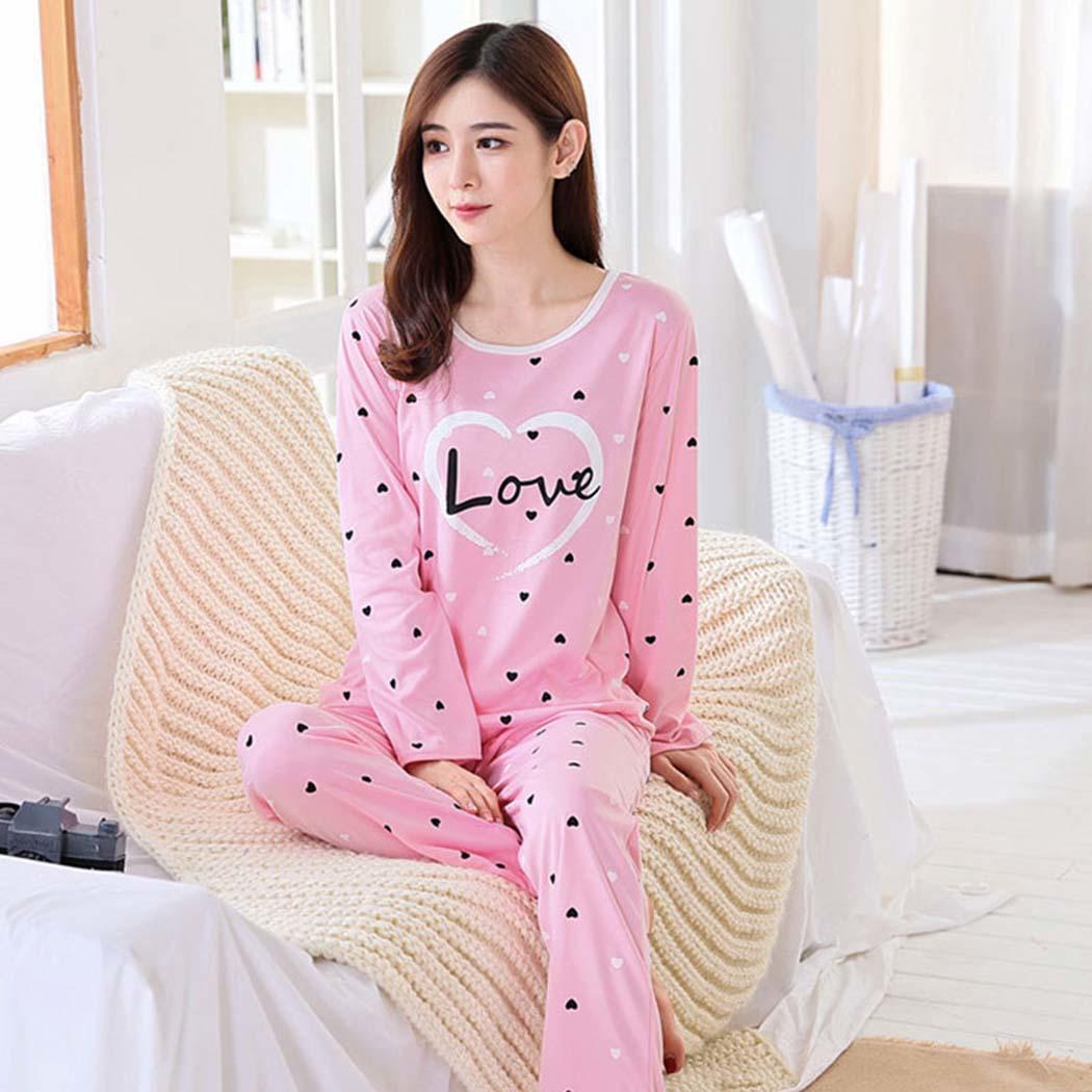 Women Casual O-Neck Long Sleeve Print Pattern Pullover Loose Sleepwear Set(China)