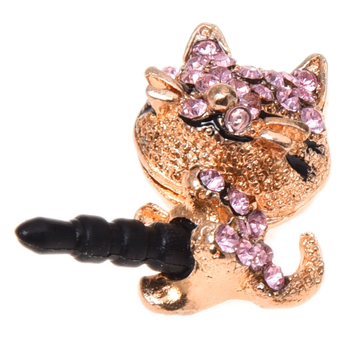 1x 3d Dust-proof Plug In The Shape Of A Cute Cat Crystal Diamond Luxurious 3.5mm Earphone Plug Dust Cap Pink Earphone Plug-hot Dust Plug