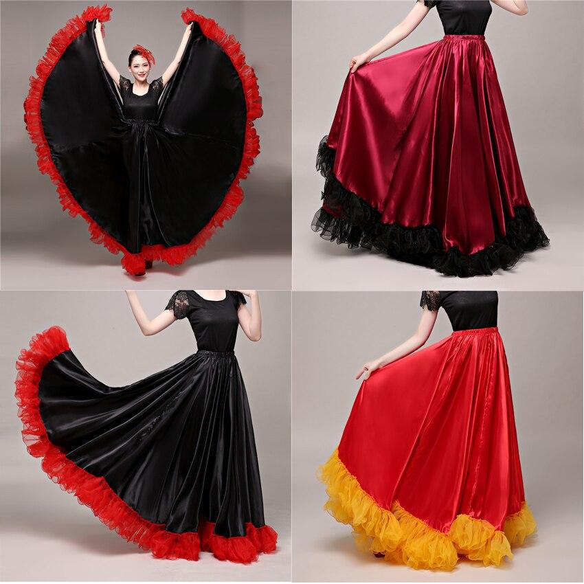 90cm Plus Size Gypsy Spanish Flamenco Skirt Lace Woman Girls Belly Dance Silk Satin Smooth Bullfight Performance Elastic Dress
