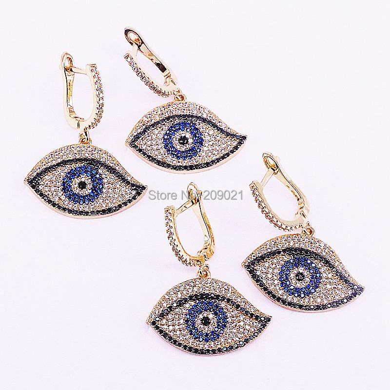 3Pair Fashion gold color Micro Pave CZ zirconia Eye charms dangle earrings gift for women