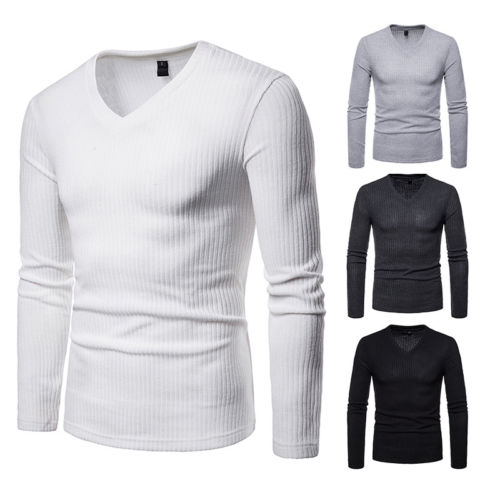 Fashion Men's Slim Fit V Neck Shirt Autumn Winter Tops Long Sleeve Blouse Hot