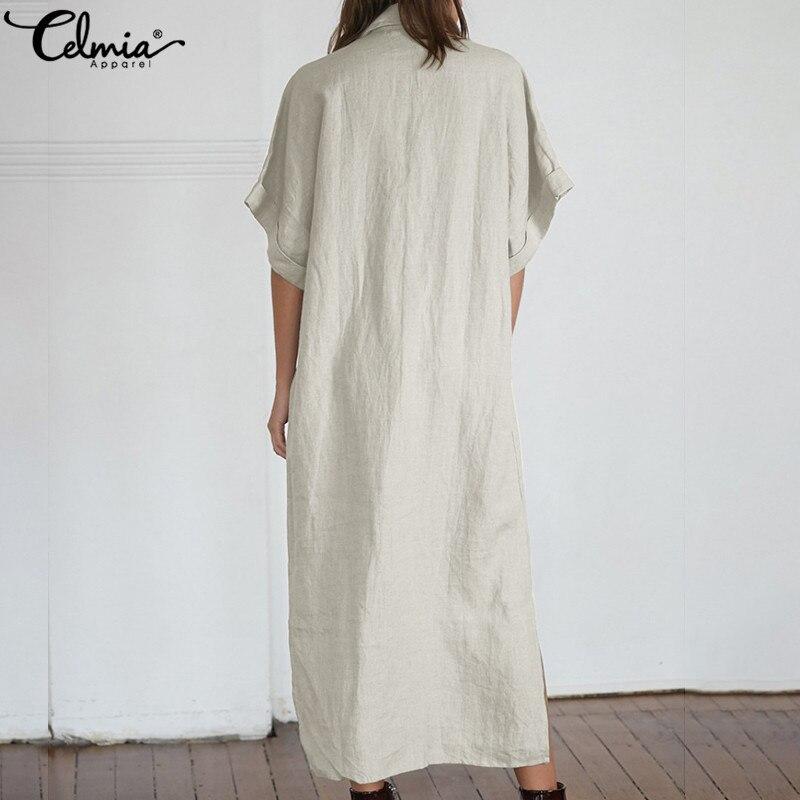 dcb4240f22984 2019 Celmia Vintage Shirt Dresses Women Summer Dress Casual Short Sleeve  Loose Buttons Split Long Maxi Vestidos Robe Plus Size