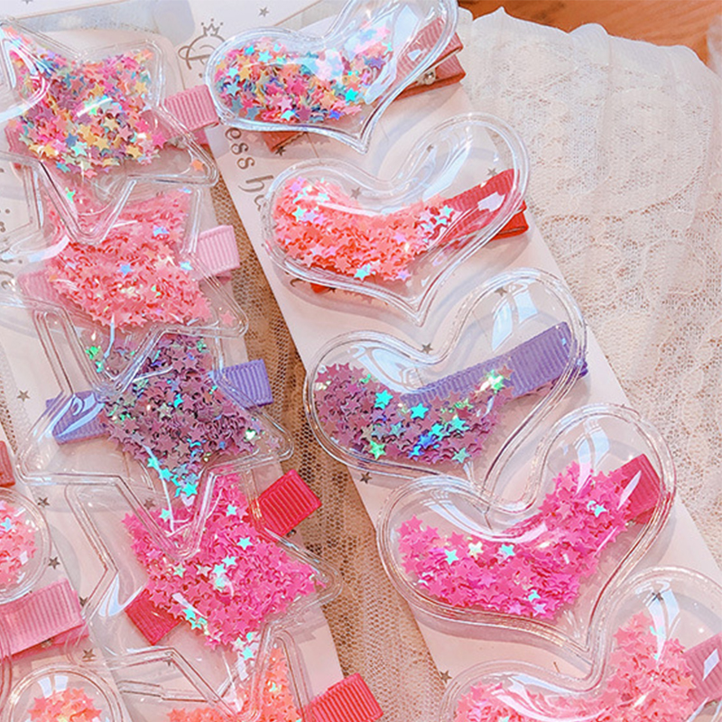 Sale 1PC Plastic Candy Color Shining Kids Hair Clips Star Transparency Heart Star Children Hairpins Baby Barrette(China)