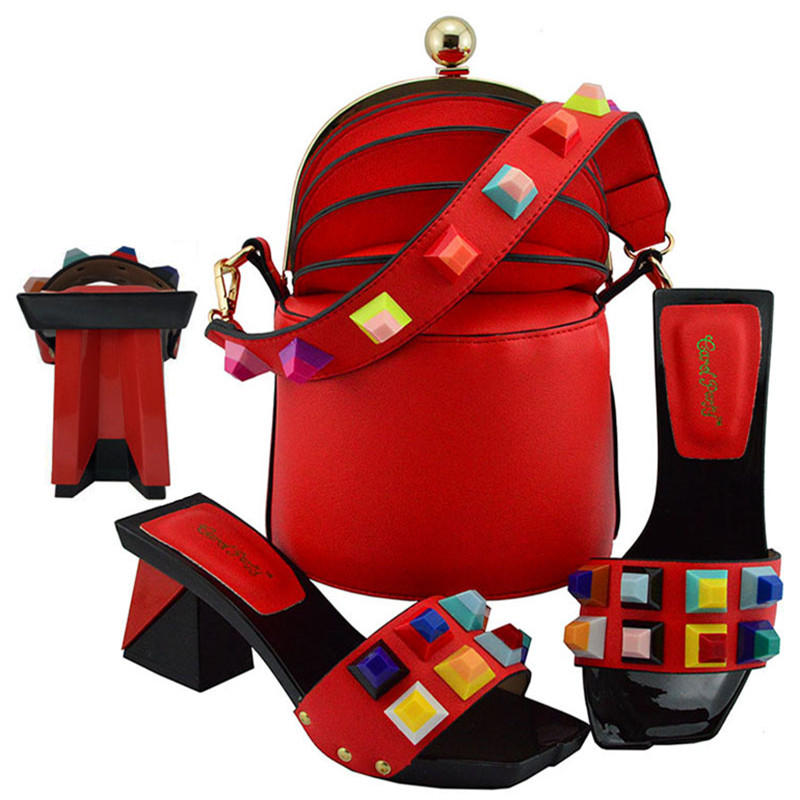 MD011 New Fashion Woman RED Shoes And Matching Bag Set For Wedding Party Italian Style High Heels Shoes And Bag SetMD011 New Fashion Woman RED Shoes And Matching Bag Set For Wedding Party Italian Style High Heels Shoes And Bag Set