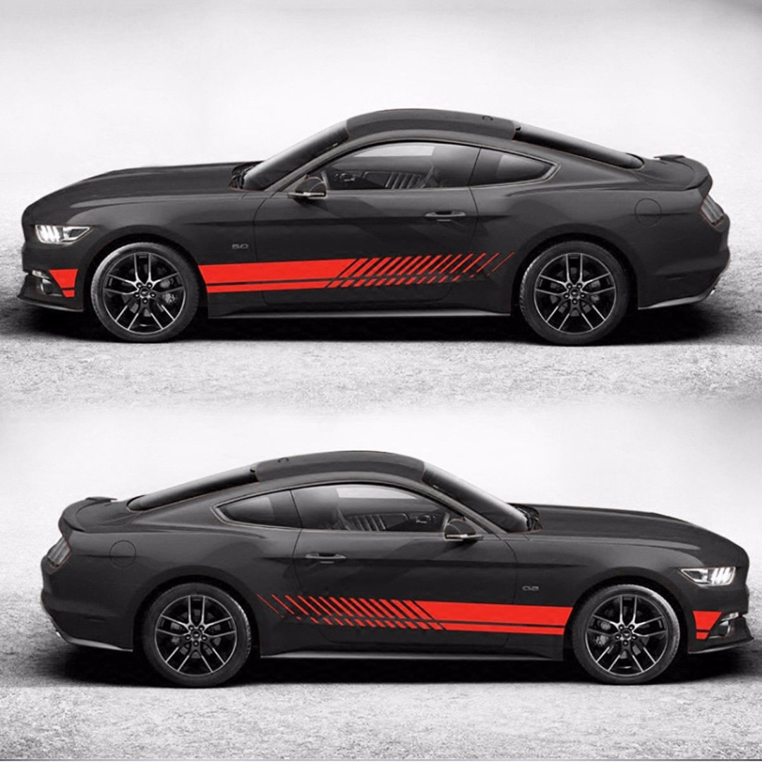 US $9 48 30% OFF|2Pcs Sports Racing Stripe Graphic Stickers Waterproof Self  adhesive Auto Car Body Side Door Vinyl Decals Red/Black-in Car Stickers